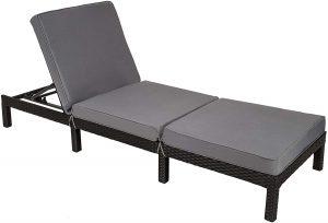 TecTake Chaise longue bain de soleil meuble de jardin en résine tressée