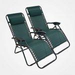 Domaier - Transat Jardin, Chaise Longue Inclinable, Vert, Lot de 2,