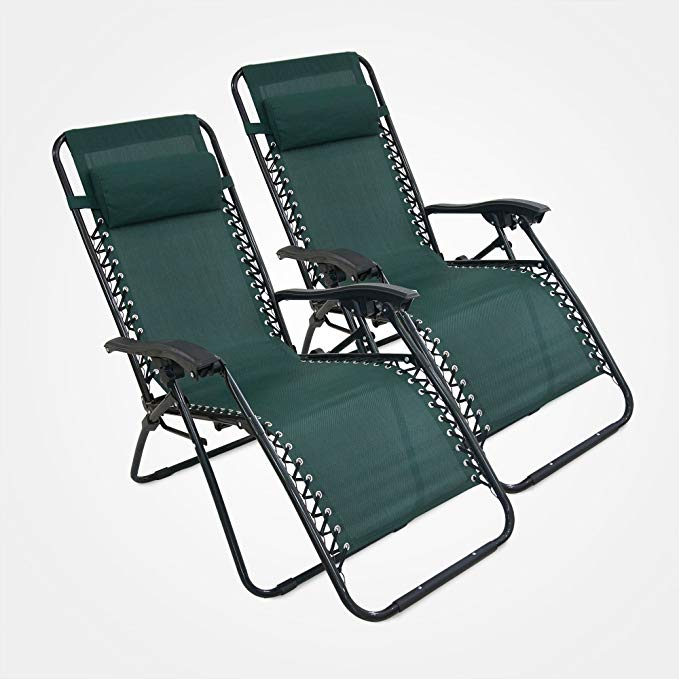 Domaier - Transat Jardin, Chaise Longue Inclinable, Vert, Lot de 2,